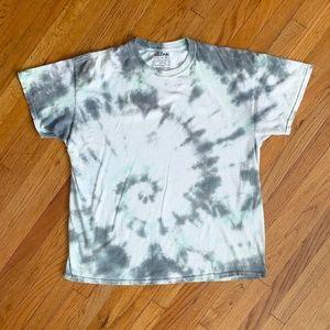 Gildan White Grey Tie Dye Tee Shirt